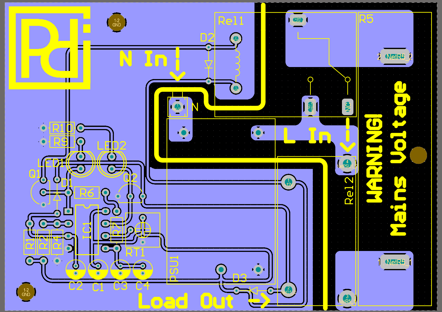 PCB layout of the inrush current limiter