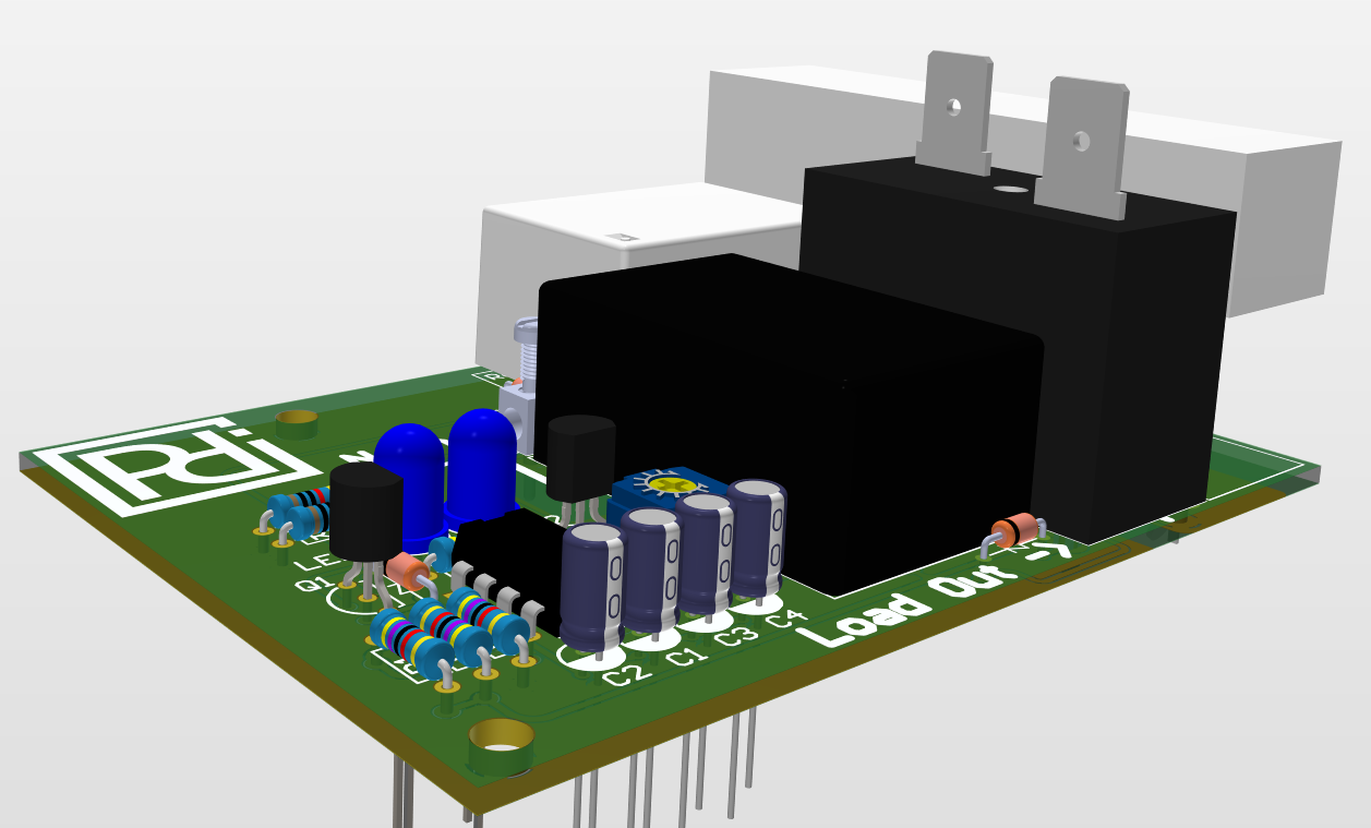 3D Render of the finished PCB